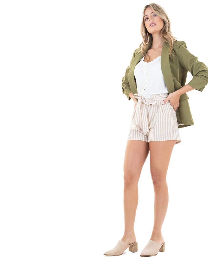 Love Tree Beige Striped Shorts
