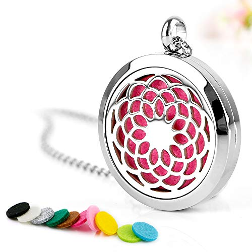Maromalife Diffuser Necklace Aromatherapy Essential Oil Diffuser Necklace Stainless Steel Sunflower Locket Pendant with 10 Colors Refill Pads