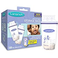 Lansinoh Breastmilk Storage Bags With Convenient Pour Spout and Patented Double Zipper Seal, Ideal for Storing and Freezing Breastmilk, 100 Count, BPA and BPS Free