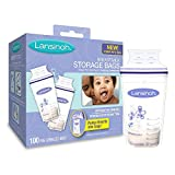 : Lansinoh Breastmilk Storage Bags With Convenient Pour Spout and Patented Double Zipper Seal, Ideal for Storing and Freezing Breastmilk, 100 Count, BPA and BPS Free