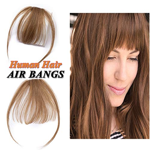 Clip in Air Bangs Human Hair Extension with Temple Thin Tied Mini Air Fringe Hair Piece Front Full Neat Air Fringe for Women One piece #06 Light Brown