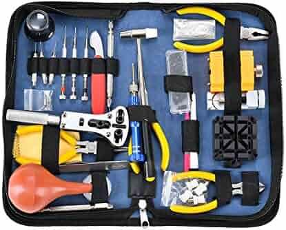 Deluxe Watch Repair Tool Kit - Watch Tools Adjustable Band Link Pin Case Opener Spring Bar Tool Set