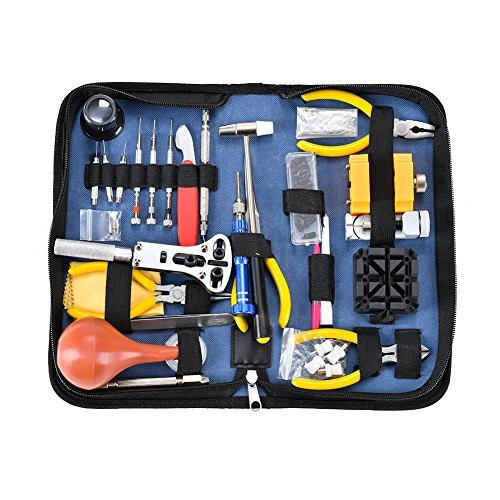 Deluxe Watch Repair Tool Kit - Watch Tools Adjustable Band Link Pin Case Opener Spring Bar Tool Set