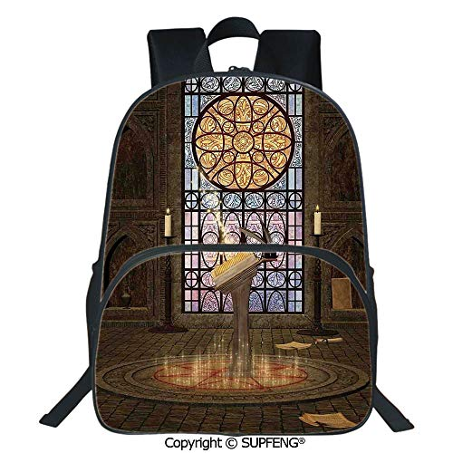 SCOXIXI Laptop Backpack Lectern on Pentagram Symbol Medieval Architecture Candlelight in Dark Spell Altar (15.75
