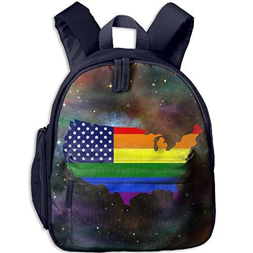 Gay Pride Rainbow American Flag Print Lightweight Toddler Backpack Shoulder Bag School Backpack For (American Pride Print)