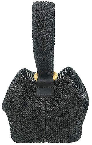 Straw Crochet Clutch Bag Fashion Clutch Bags Bucket Wrist Evening Purse Bag Summer Black Clutch Black Straw Handbags