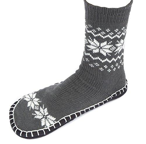 Leisureland Heren Gebreide Comfortabele Slippers Sokken Sneeuwvlokken Grijs