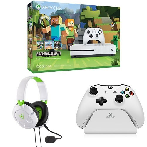 Xbox One S 500GB Console – Minecraft Bundle + Turtle Beach Recon 50X White Stereo Gaming Headset + Controller Gear White Controller Stand v2.0