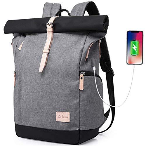 Baulanna Wasserdicht Laptop Rucksack Tasche Daypack Diebstahlsicherung Tagesrucksack Daypack Mode Rucksack Roll Top Rucksack mit USB fur 15.6 Zoll Notebook Damen Herren (Grey)