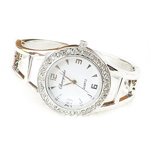 megko Fashion Women's Bangle Cuff Bracelet Analog Watch Crystal Round Dial White- Silver Tone