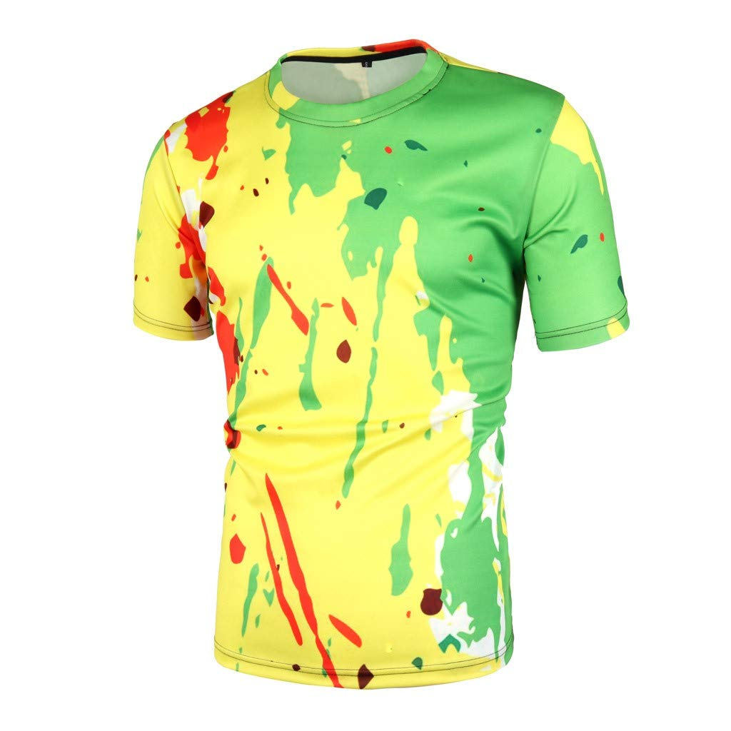Mens Shorts Sleeve t Shirts, Summer 3D Graphic Round Neck Tees Tops Loose Color Splash Paint Ink Casual Blouse Shirts (XL, Yellow)