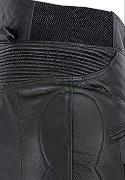 Noir uni Homme W38 L30 Pantalon de Moto Cuir de Vachette Sliders int/égr/és