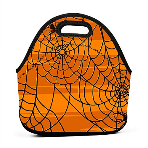 (Janeither Scary Halloween Spiders Graphics Portable Reusable Lunch Bag Waterproof Picnic Tote Insulated Cooler Zipper)