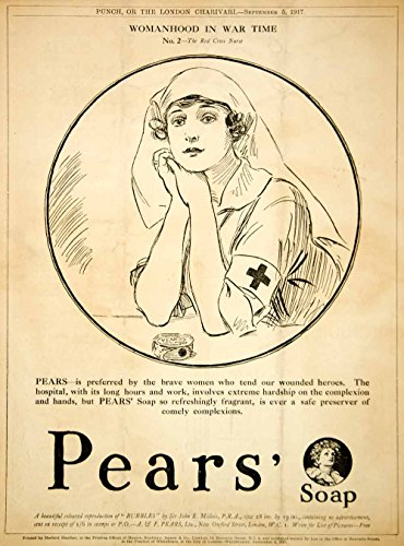 1917 Ad Vintage World War I Pears Soap Red Cross Nurse Illustration WWI Advert - Original Print Ad (White Cross Pear)
