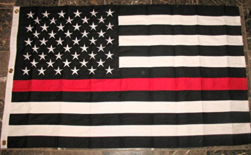 Thin Red Line USA American FireFighters Flag 3x5 Embroidered