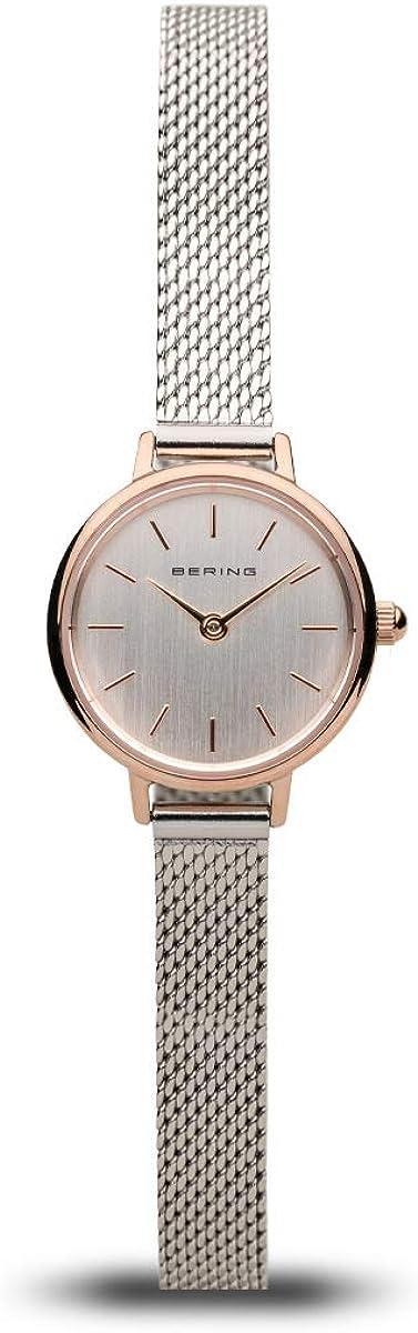 BERING Time 11022-064 - Reloj de pulsera para mujer, diseño fino, 22 mm, colección clásica, correa de acero inoxidable, cristal de zafiro resistente a los arañazos, minimalista, diseñado en Dinamarca