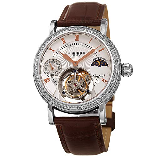 Akribos Mechanical Tourbillon Moonphase Design (AM/PM) Watch -Exclusive Diamond Encrusted Edition - Skeletonized Face Automatic Dual-Time Limited Edition Genuine Alligator Leather Band - AK493