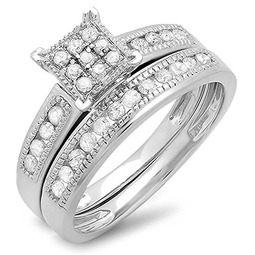 0.50 Carat (ctw) Sterling Silver Round White Diamond Ladies Engagement Bridal Ring Set 1/2 CT (Size 10) by DazzlingRock Collection
