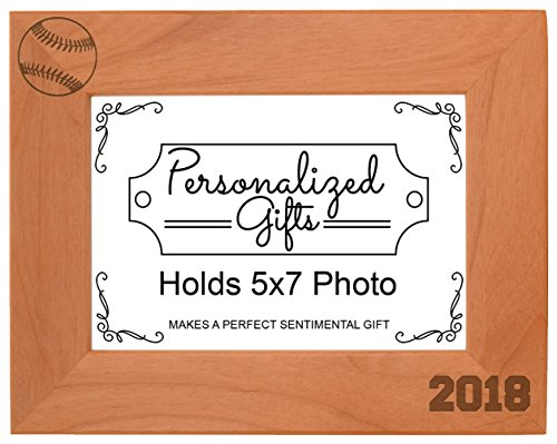 Personalized Gifts Baseball Gifts 2018 Frame Baseball Picture Frame Sports Photo Frame Wood Engraved 5x7 Landscape Picture Frame