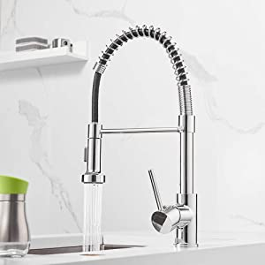 Spring Kitchen Sink Faucet OWOFAN Lead-Free Commercial Solid Brass Single Handle Single Lever Kitchen Faucet with Pull Down Sprayer, Polished Chrome Kitchen Faucets 9009L