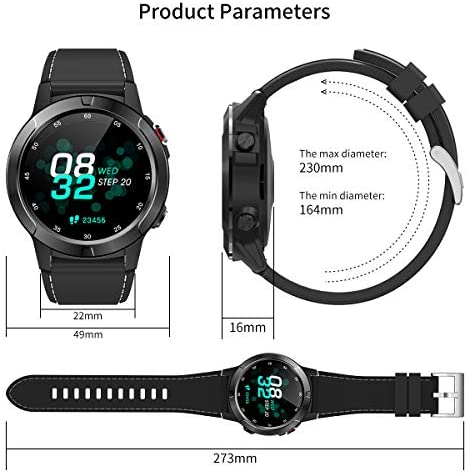 Smart Watch for Android Phones iOS, GPS Smartwatch for Men with Heart Rate and BP Monitor, Pedometer, Text Call Notification, Compass, Barometer, Altitude, Leather and Rubber Bands, Round Face, 2020 51vSXWwR1AL