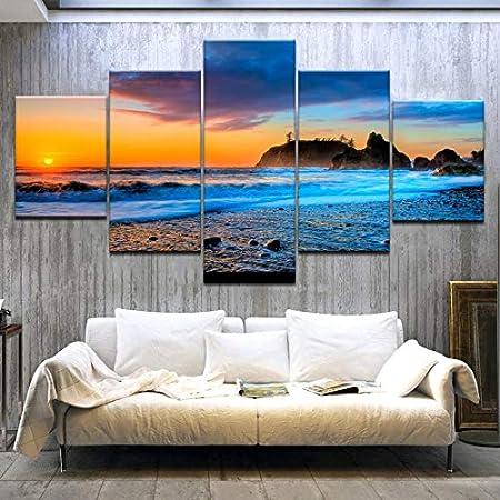 5 Piezas Pinturas murales modulares Playa Puesta de Sol ...