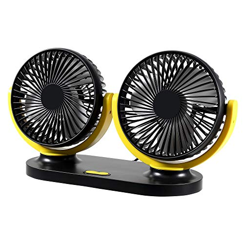 Electric Car Fan, 12/24V USB Dual Head Car Cooling Fan Air Conditioner 360 Degree Rotating Levels Adjustable (Yellow+Black)