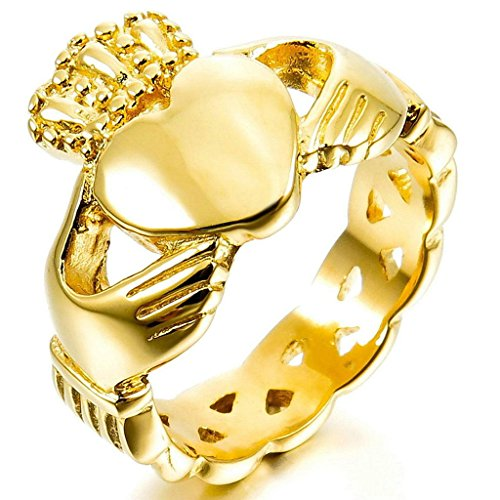Gnzoe Jewelry, Stainless Steel Mens Rings Gold Irish Celtic Knot Irish Claddagh Friendship Love Heart Crown Size 10 (Gold Claddagh Knot Ring)