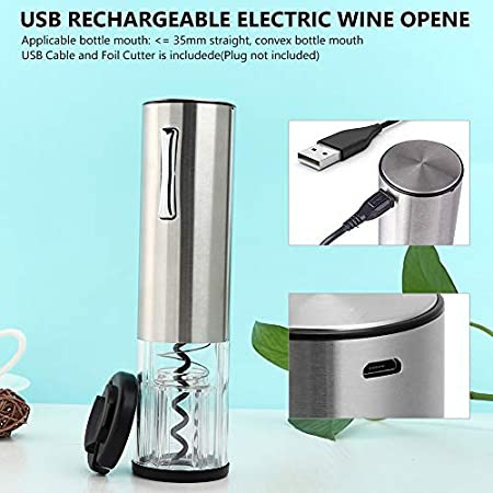 Sacacorchos recargable, tamaño pequeño, abridor de botellas portátil, sacacorchos eléctrico de acero inoxidable con puerto de carga USB, cortador de cápsulas, tapón de vacío y vertedor