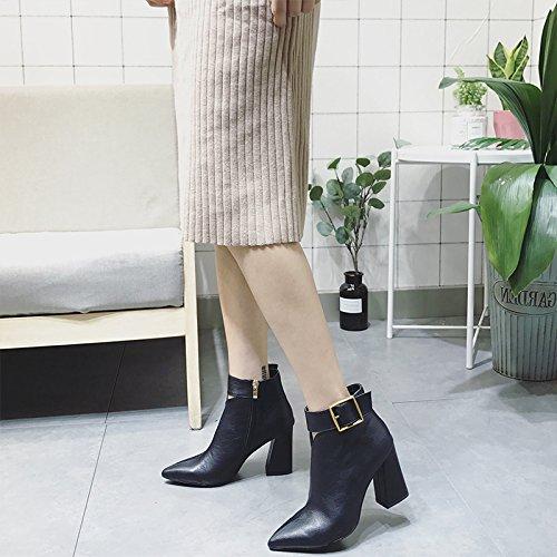 KHSKX-Mode Hat Schuhe Mit Hohen Absätzen Weibliche Britische Polo Alle Treffer Schuhe Mit Dicken Kurzen Schlauch black