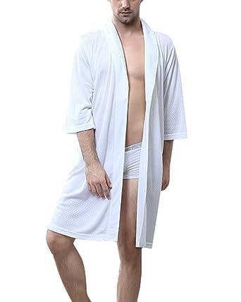 Elegantes Albornoz De Manga 3/4 Batas Pijama Kimono Ropa De Casa para Hombre Y Mujer Suaves Ropa De Dormir: Amazon.es: Ropa y accesorios