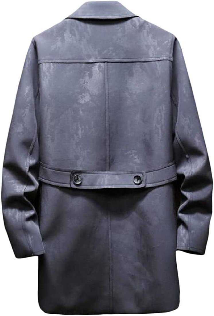Pluszing Men Lapel Double Breasted Jacket Warm Outerwear Trench Coats