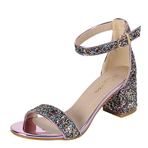 Forever Mujeres Open Toe Glitter Tobillera Con Tacón Alto Mini Chunky Med High Heel Pump Sandalia Multicolor