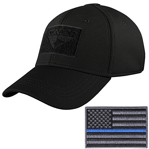 Condor Tactical Flex Cap with Thin Blue Line Morale Patch Bundle (S/M: 7-7 3/8, Black) (Fitted Hats With Patch)