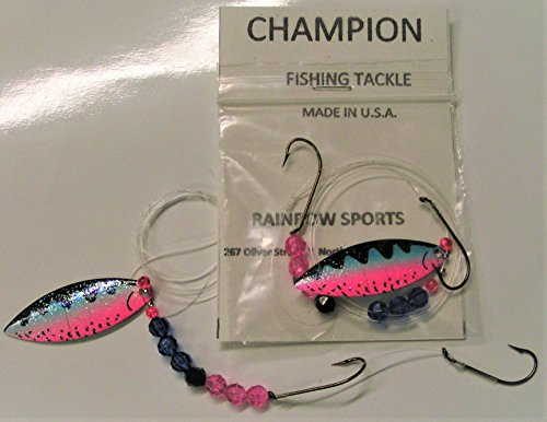 Willow Leaf Blade - RS Champion 2 - RAINBOW TIGER Single blade Willow Leaf #4 Worm Harness Monofilament Rig