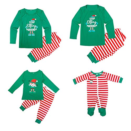 Dad Mom Baby Kid Family Matching Christmas Pajamas Sleepwear Homewear Set (0-6 Months, Baby)