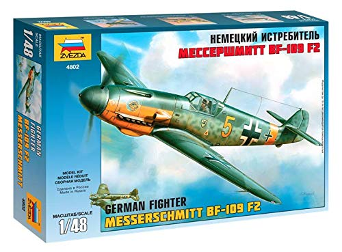(ZVEZDA 4802 - German Fighter MESSERSCHMITT BF-109 F2 - Unpainted Plastic Model Kit Scale 1/48 157 Details Lenght 8,5