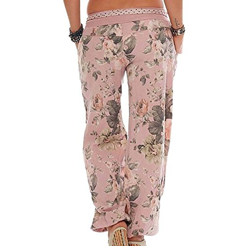 Leggero Giovane Pantaloni Donna Modello Plus Pantaloni Grazioso Lanterna Di Aladin Pantalone Larghi Vintage Sciolto Harem Lunga Prodotto Pantaloni Eleganti Tempo Pantaloni Women Libero Pink Fiore Estivi EP5pqwHfT