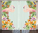 Ambesonne Floral Decor Curtains, Flamingos Tropical Flowers and Flamingos Decorations for Home Print