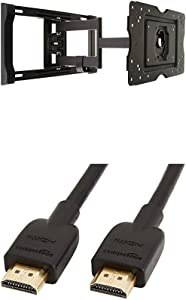 AmazonBasics Heavy-Duty, Full Motion Articulating TV Wall Mount for 32-inch to 80-inch TVs & High-Speed HDMI Cable - 10 Feet (Latest Standard)