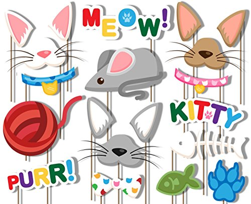 Kitty Cat Photo Booth Props Kit - 20 Pack Party Camera Props Fully Assembled ()
