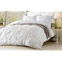 Pinch Pleated Duvet Cover With Zipper & Corner Ties 100% Egyptian Cotton 600 Thread Count Luxurious & Hypoallergenic Pintuck Decorative ( California King/King, White ) by Kotton Culture