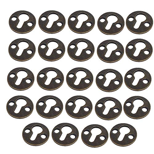 Keyhole Hardware - Antrader Metal Round Type Keyhole Shelf Brackets Hangers for Picture Frame Hanging with Screws Pack of 24 (Bronze Tone)