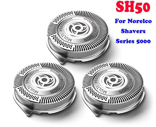 PLP Norelco Replacement Heads SH50 for Series 5000, Razor Blades, Replacement Blades SH50/52 for Philips Norelco S5000, Lift and Cut Sharp No Pulling Hair Shaver HeadsEasy Install [UPDATED BLADE SET]