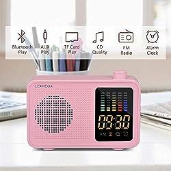 Portable Bluetooth Speaker Vintage Retro Fashion Style Bluetooth 4.1 Wireless Speaker with FM Radio Alarm Clock AUX Input Support TF Card (Pink)