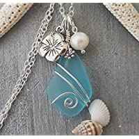 Handmade in Hawaii, wire wrapped blue sea glass necklace, Hibiscus and freshwater pearl, (Hawaii Gift Wrapped, Customizable Gift Message)