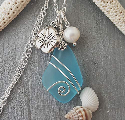 Handmade in Hawaii, wire wrapped blue sea glass necklace, Hawaiian state flower Hibiscus and freshwater pearl, sterling silver chain, FREE gift wrap, FREE gift message