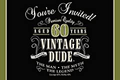 "Invite guests to your party in style with these vintage dude birthday party invitations. Each gatefold style invitation features the words ""You're Invited"", ""Aged 60 Years"", ""Vintage Dude"" and more over a black and olive green background. Ins..."