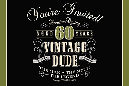 Club Pack of 48 Vintage Dude 60th Birthday Party Gatefold Paper Invitations 6