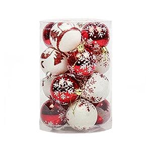 """16 Pezzi Infrangibile Palline Di Natale, Ciondoli Decorazioni Natalizie, Luccichio, Rosso E Bianca, 8Cm(3.2"""") 10 spesavip"""